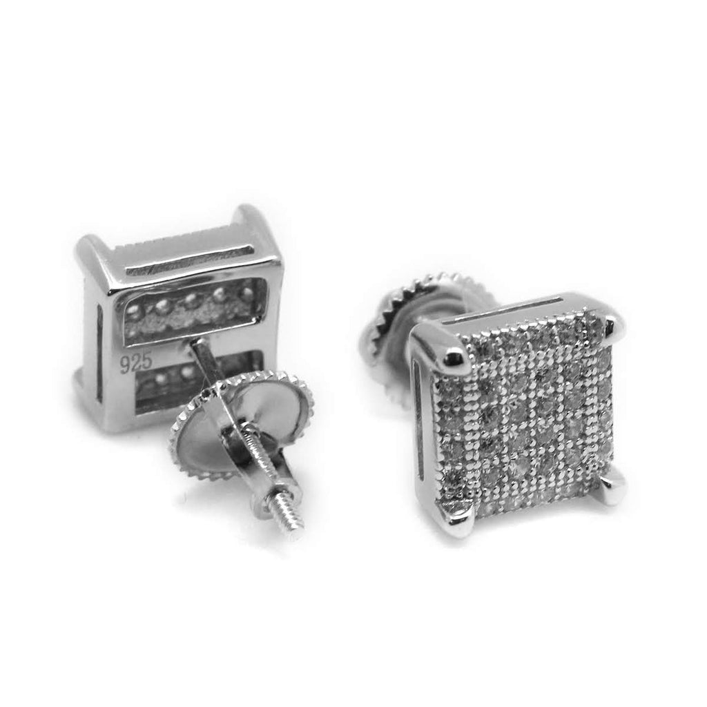 Square Lattice CZ Micropave Post Earrings