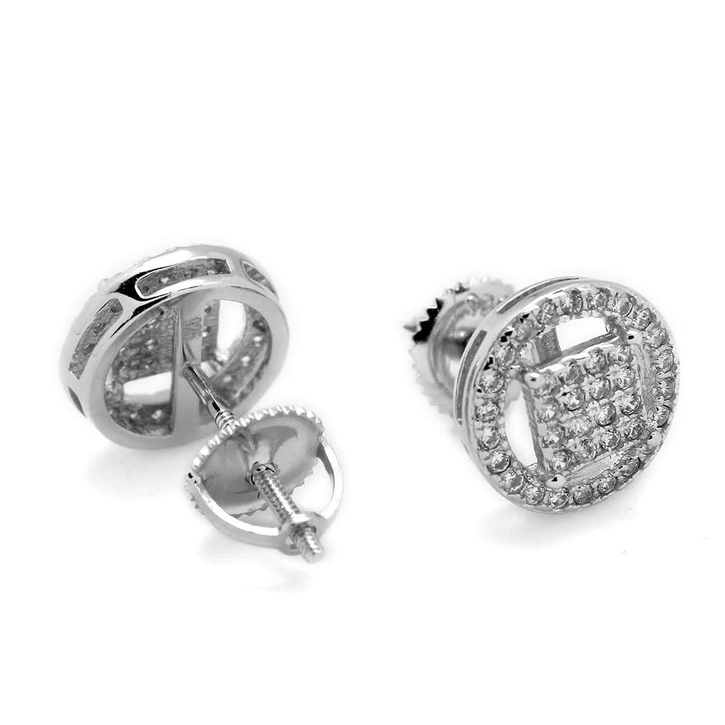 Micropave Square Halo Post Earrings