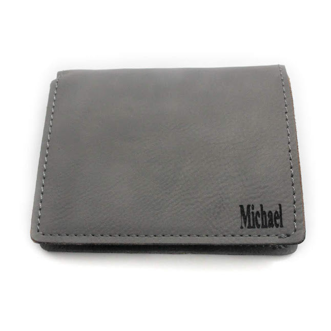 Men's Grey Leather Wallet - Allyanna Gifts