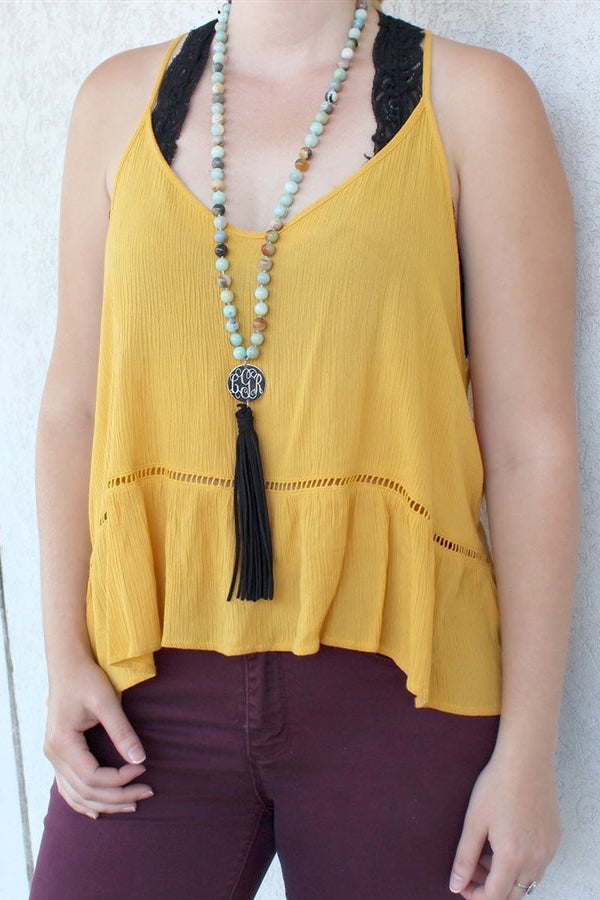Amazonite Beaded Suede Tassel Necklace - Allyanna Gifts