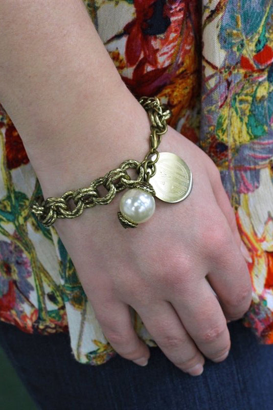 Double Chain Monogrammed Pearl Link Bracelet - Allyanna Gifts