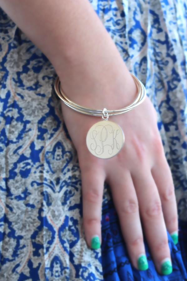 Engravable German Silver Bangle Bracelet - Allyanna Gifts