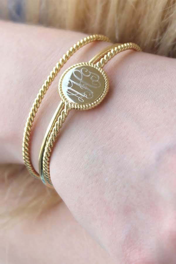 Engraved Triple Rope Bangle Bracelet - Allyanna Gifts