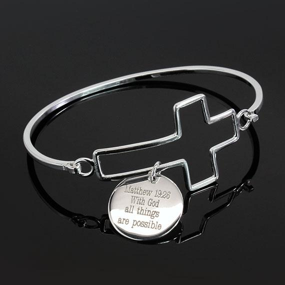 Matthew 19:26 Cross Bracelet