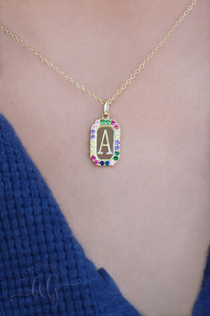 Rainbow Initial Necklace - Allyanna Gifts