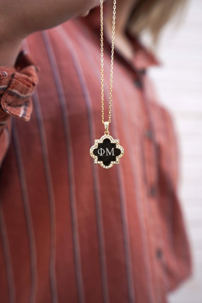 Phi Mu Sterling Silver Quatrefoil Necklace - Allyanna Gifts