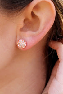 Sparky CZ Round Post Earrings