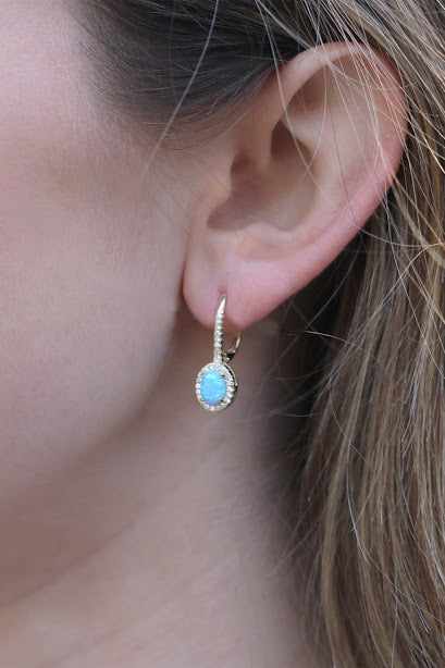 Opal with CZ Halo Leverback Earrings