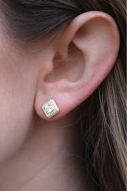 Regal Square CZ Post Earrings - Allyanna Gifts