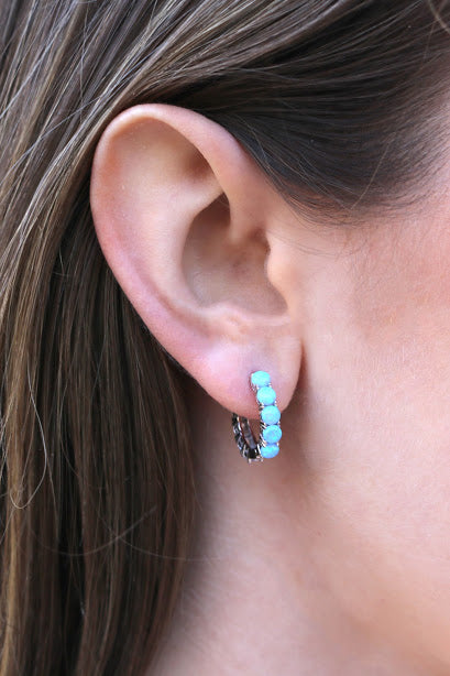 Opal/Cz Stone Double Sides Hoop Earrings - Allyanna Gifts