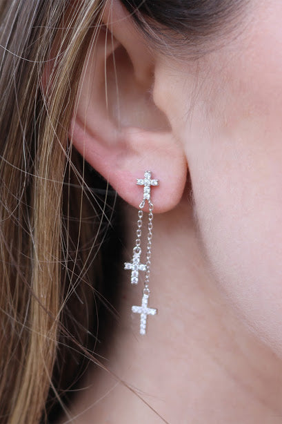 Sparkly Cross Dangle Post Earrings - Allyanna Gifts