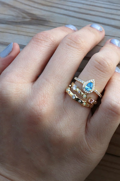 Gold Turquoise Stackable Ring Set