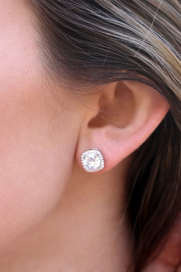 Square CZ Post Earrings and CZ Horseshoe Hoop Set - Allyanna Gifts