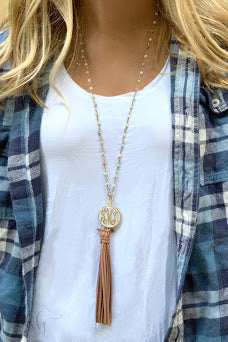 Amazonite Monogram Tassel Necklace - Allyanna Gifts