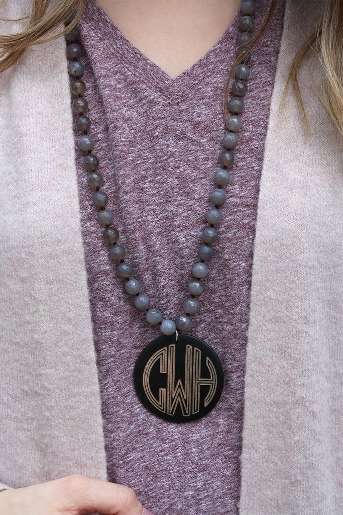 Beaded Topaz Necklace with Monogrammed Purple Wood Pendant