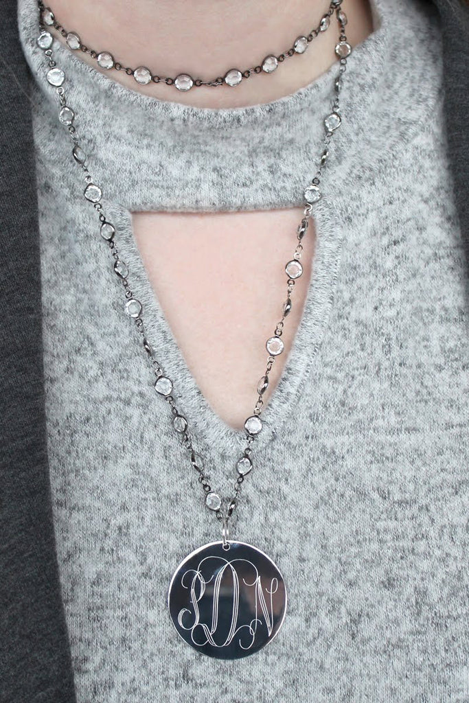 Engravable Layered Crystal Necklace with Stainless Steel Disc - Allyanna Gifts
