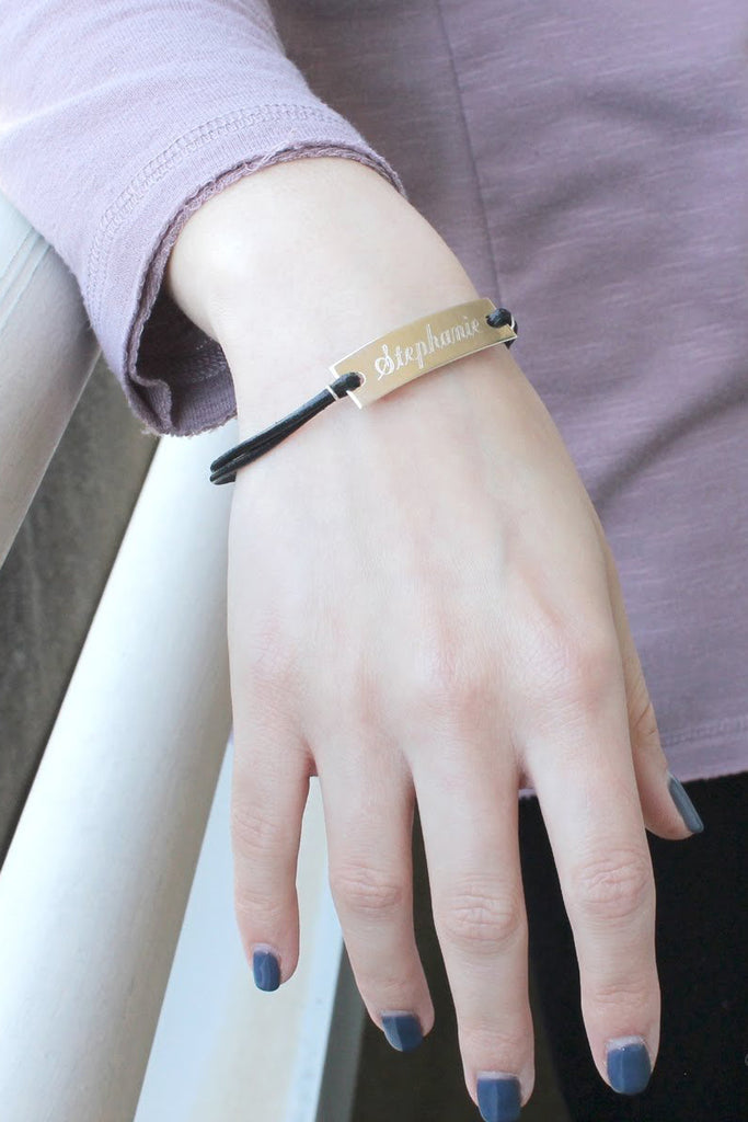 Engraved Leather Cord Long Bar Bracelet - Allyanna Gifts