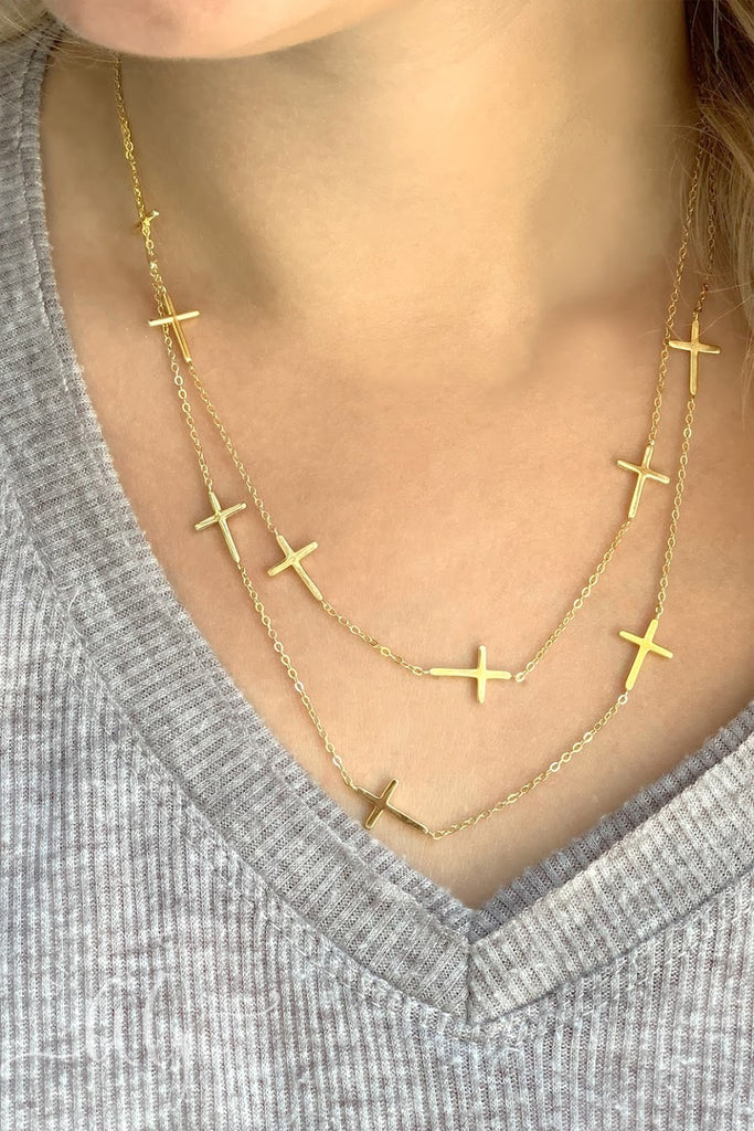 Double Chain Cross Necklace - Allyanna Gifts