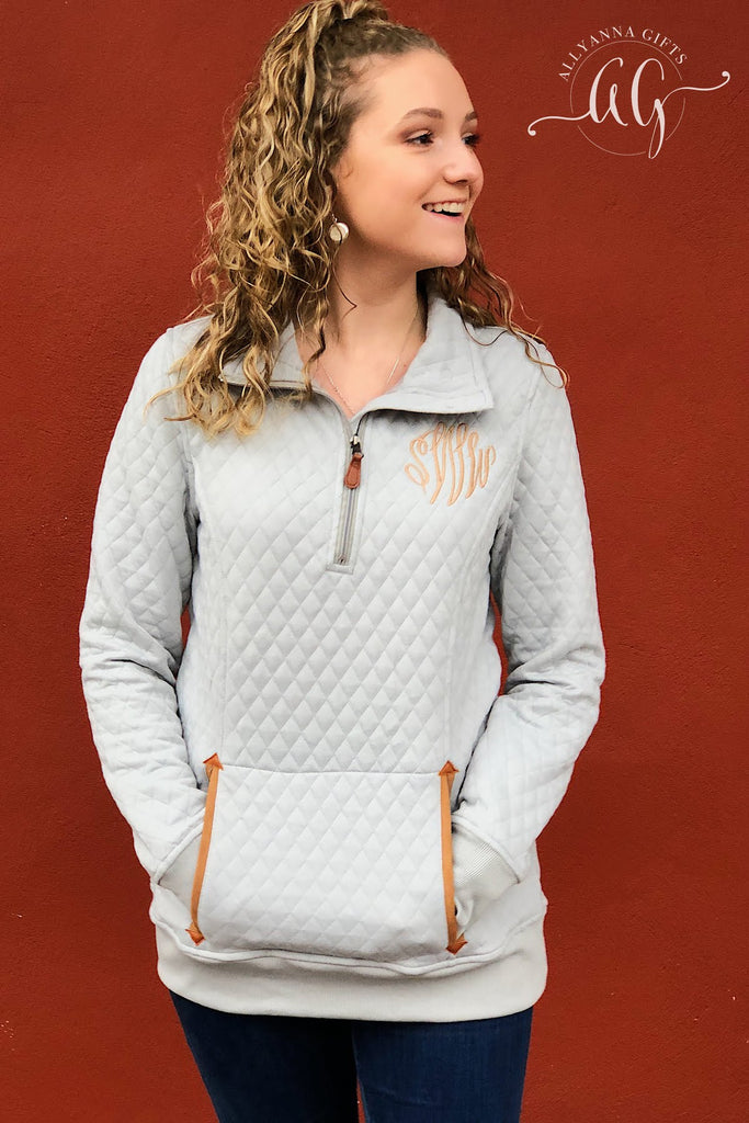 Monogrammed Thick Quilted Pullover - Allyanna Gifts