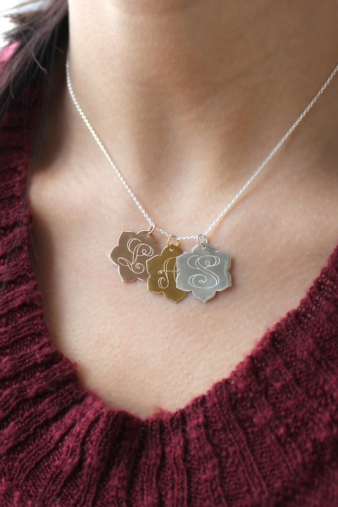 Large Floral Disc Necklace - Allyanna Gifts