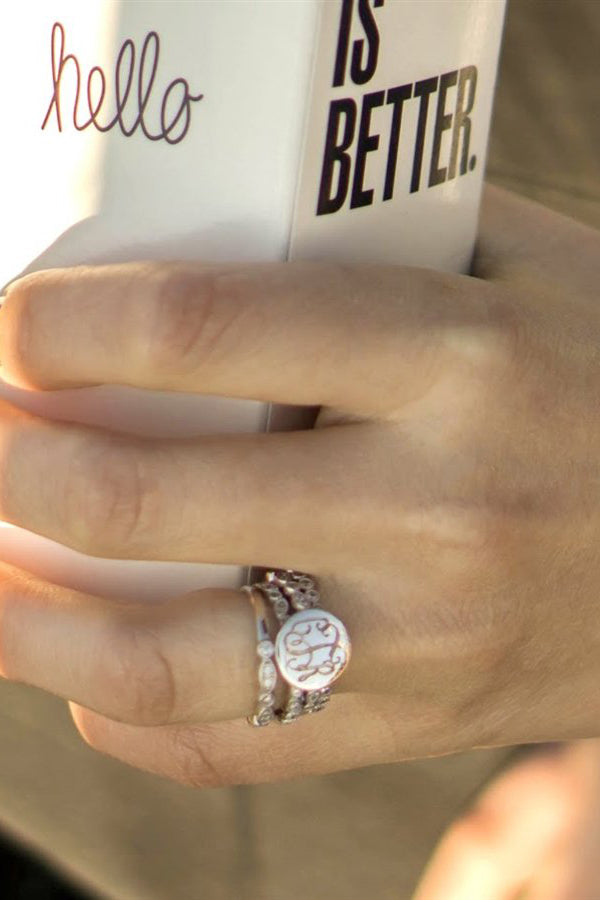 Monogrammed Decorative Stackable Sterling Silver CZ Rings - Allyanna Gifts