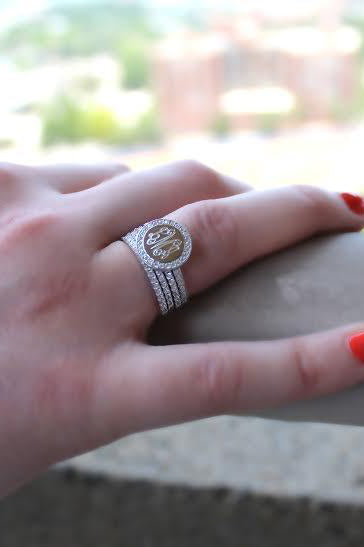 Monogrammed Stackable Sterling Silver Cz Rings - Allyanna Gifts