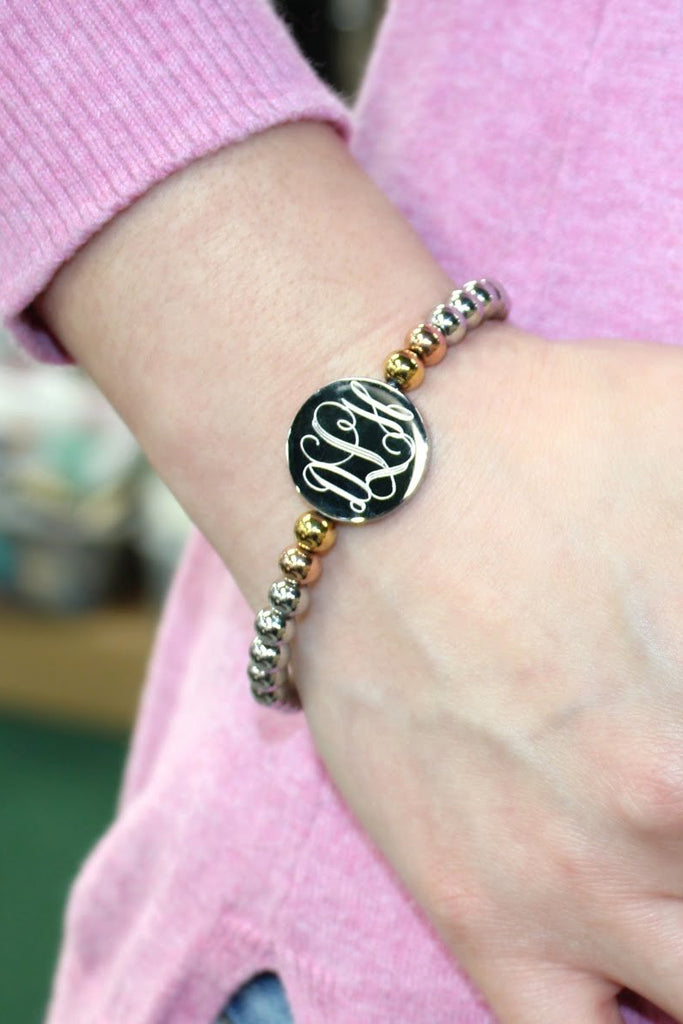 Monogrammed Stainless Steel Gold and Silver Beaded Bracelet - Allyanna Gifts