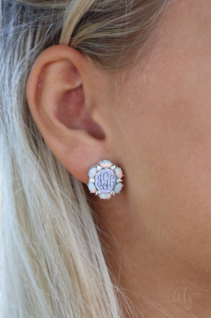 Sterling Silver Opal Flower Earrings - Allyanna Gifts
