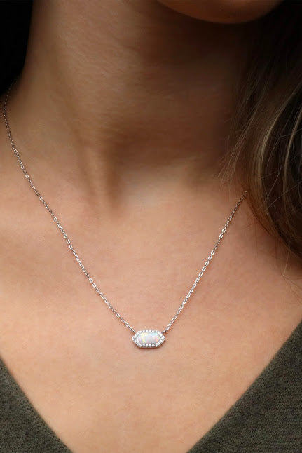 White Opal Hexagon Necklace - Allyanna Gifts