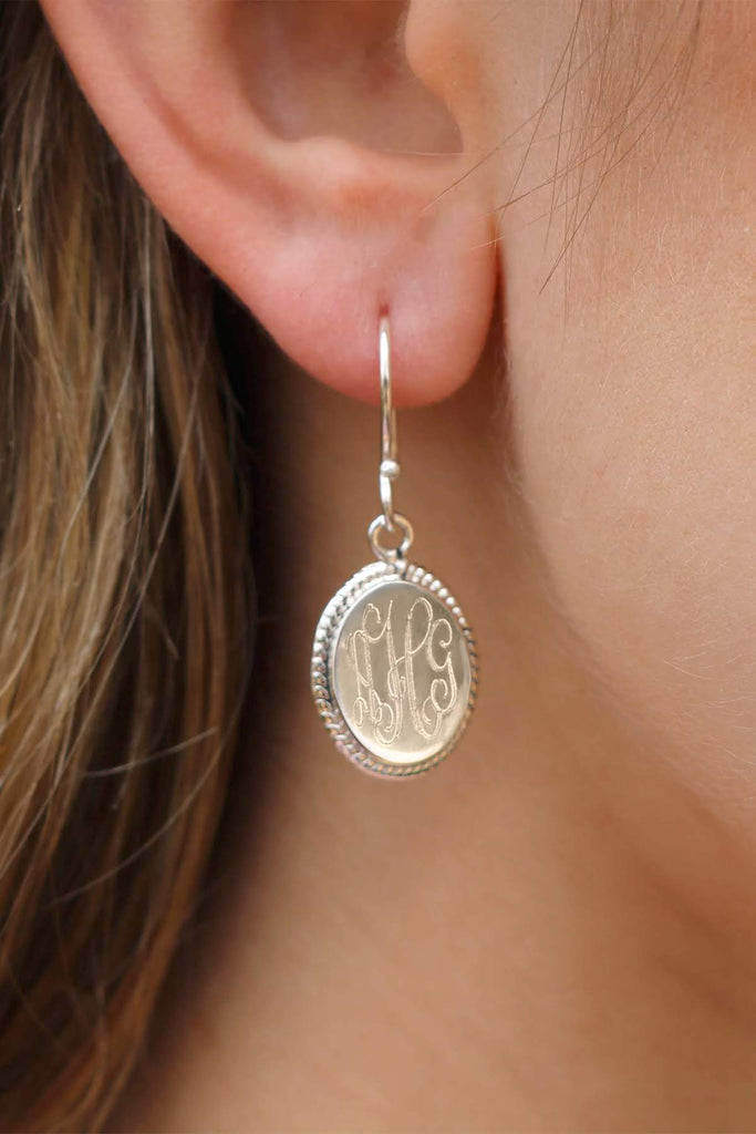 Oval Rope German Silver Earrings