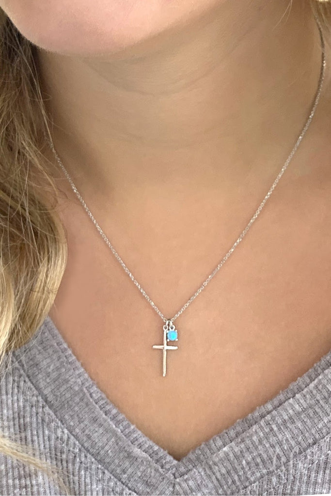 Blue Stone Cross Necklace - Allyanna Gifts