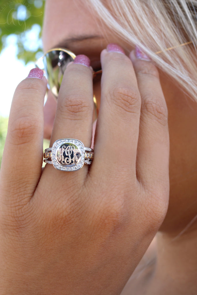 Square Halo Ring - Allyanna Gifts
