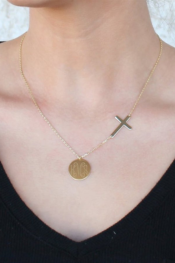 Sterling Silver Cross Necklace with Engravable Disc - Allyanna Gifts