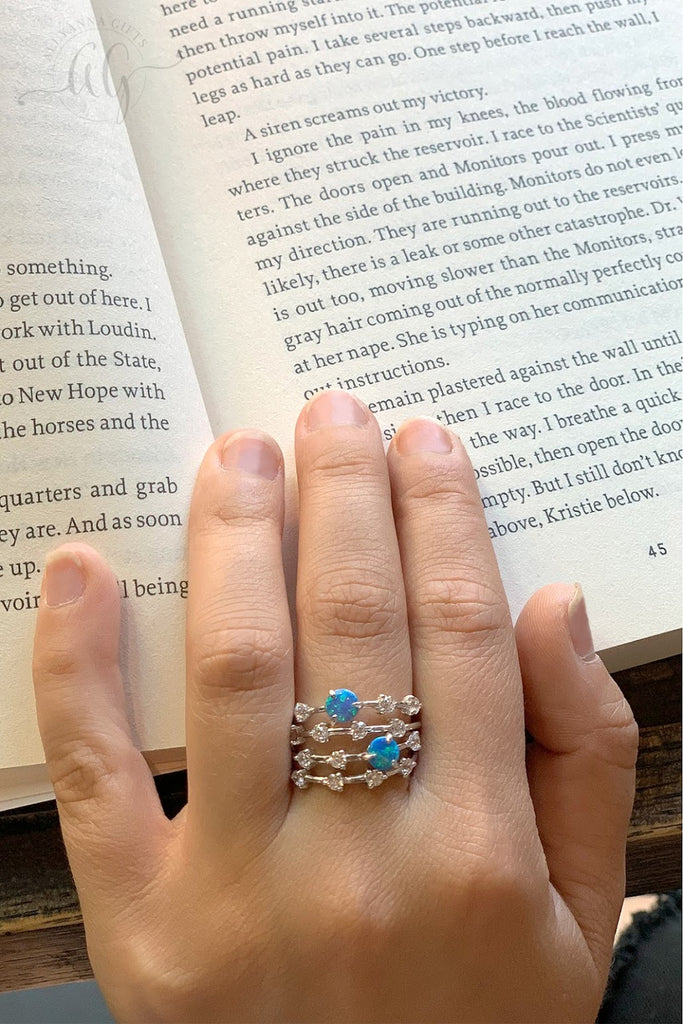 Blue Opal Stackable Ring Set - Allyanna Gifts