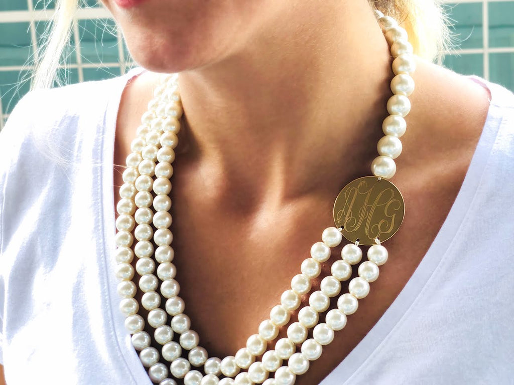 Classic Layered Engravable Pearl Necklace, Allyanna Gifts