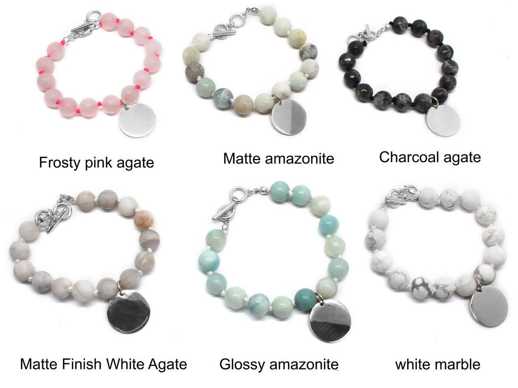 Monogrammed Beaded Agate Bracelets - Allyanna Gifts