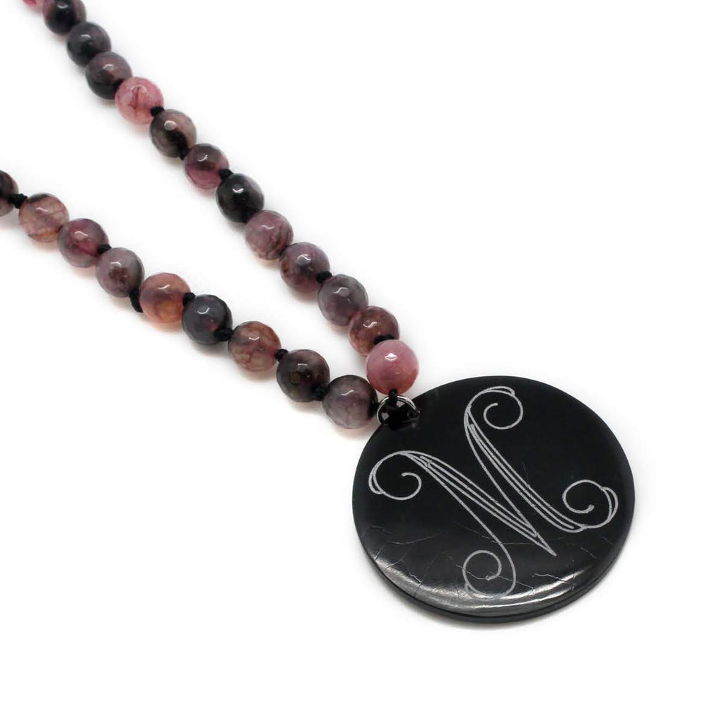 Beaded Lavender Marble Necklace with Monogrammed Black Shell Pendant