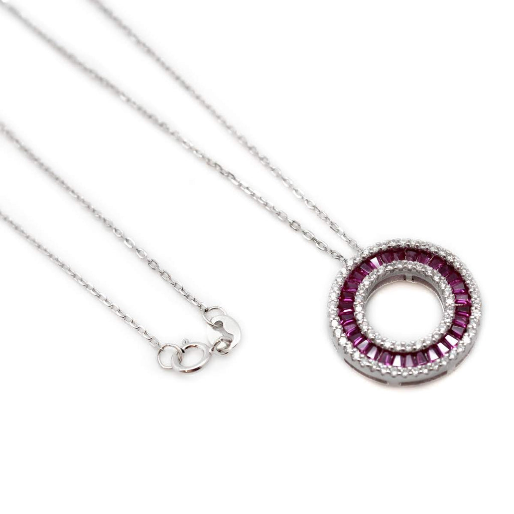 Purple CZ Disk Necklace - Allyanna Gifts