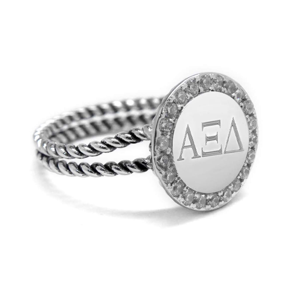 Sorority Sterling Silver Double Rope Engravable CZ Ring - Allyanna Gifts