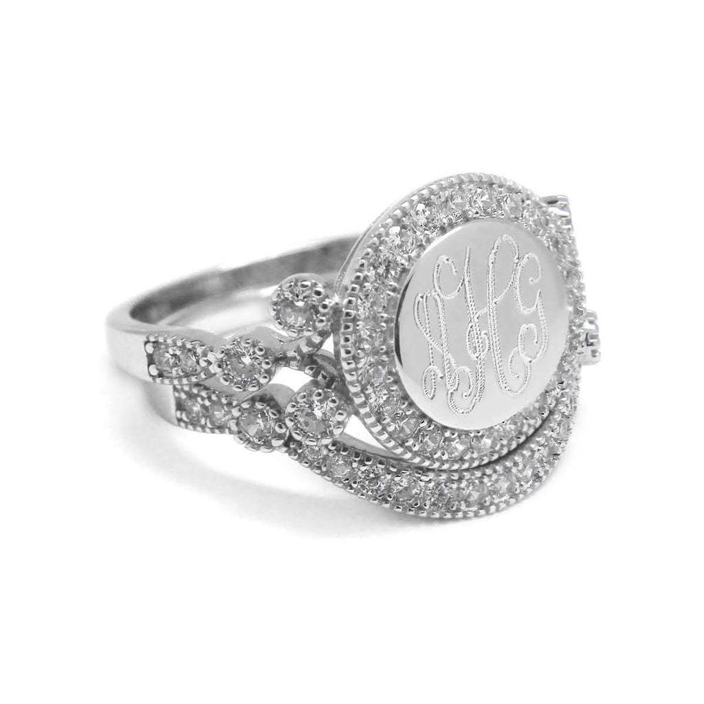 'Enchanted' Sterling Silver Monogram Ring - Allyanna Gifts