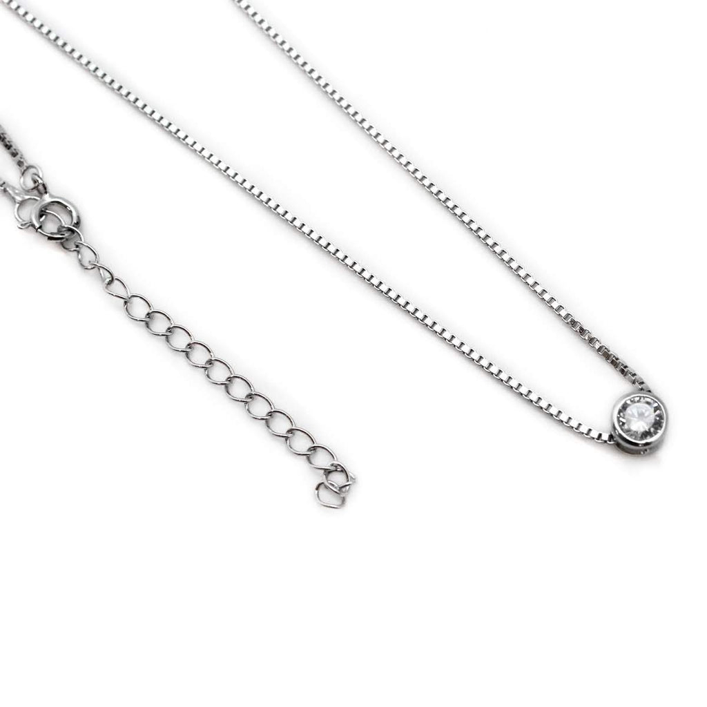 Single Stone Sterling Silver Necklace - Allyanna Gifts