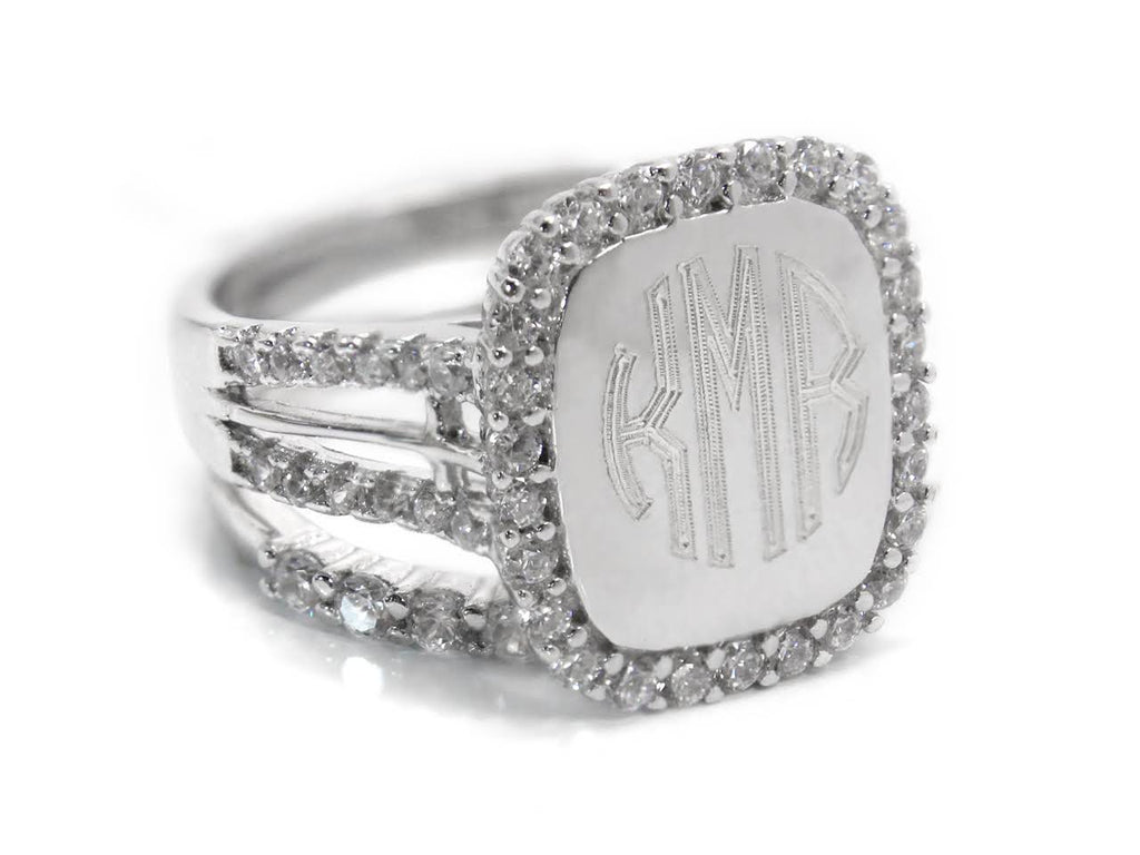 Sterling Silver Engravable CZ Radiance Ring