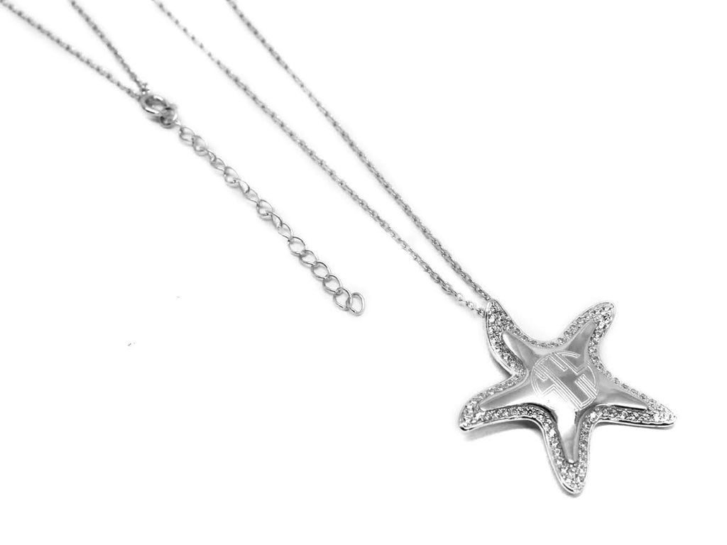 Sterling Silver CZ Starfish Necklace, Allyanna Gifts