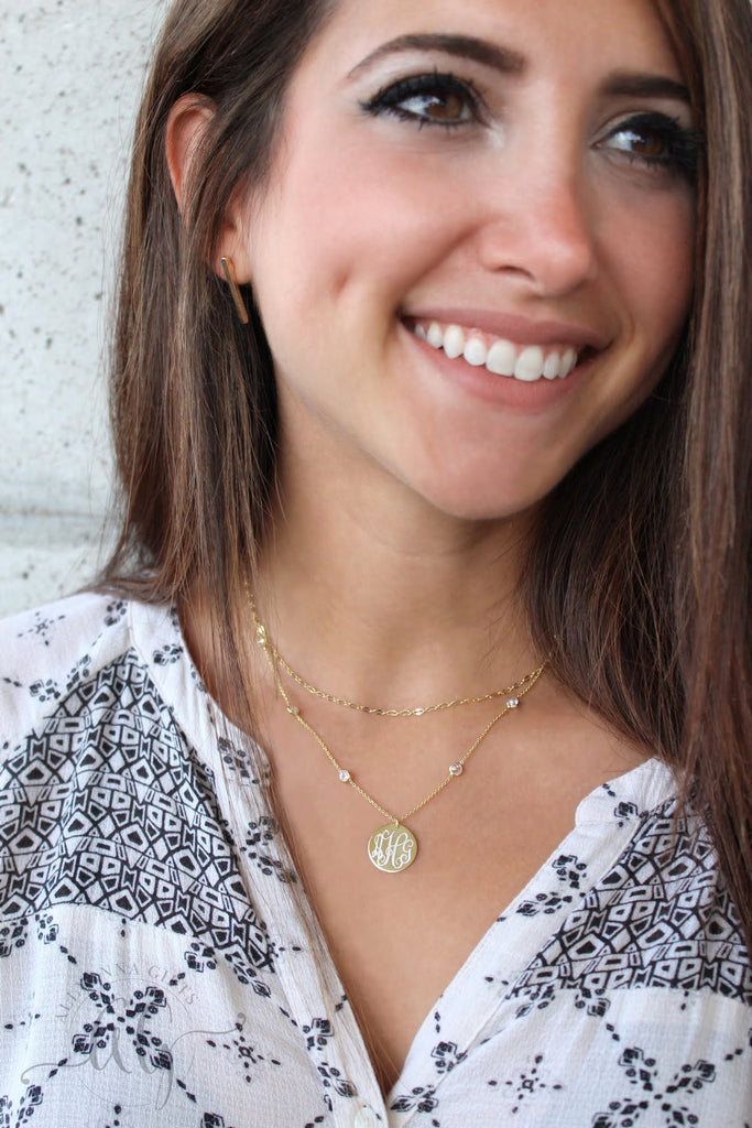 Sterling Silver Crystal Layered Necklace - Allyanna Gifts
