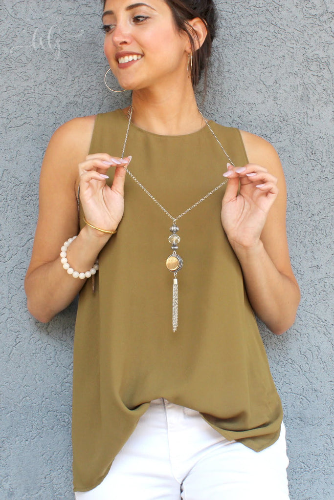 Crystal Snap Tassel Necklace - Allyanna Gifts