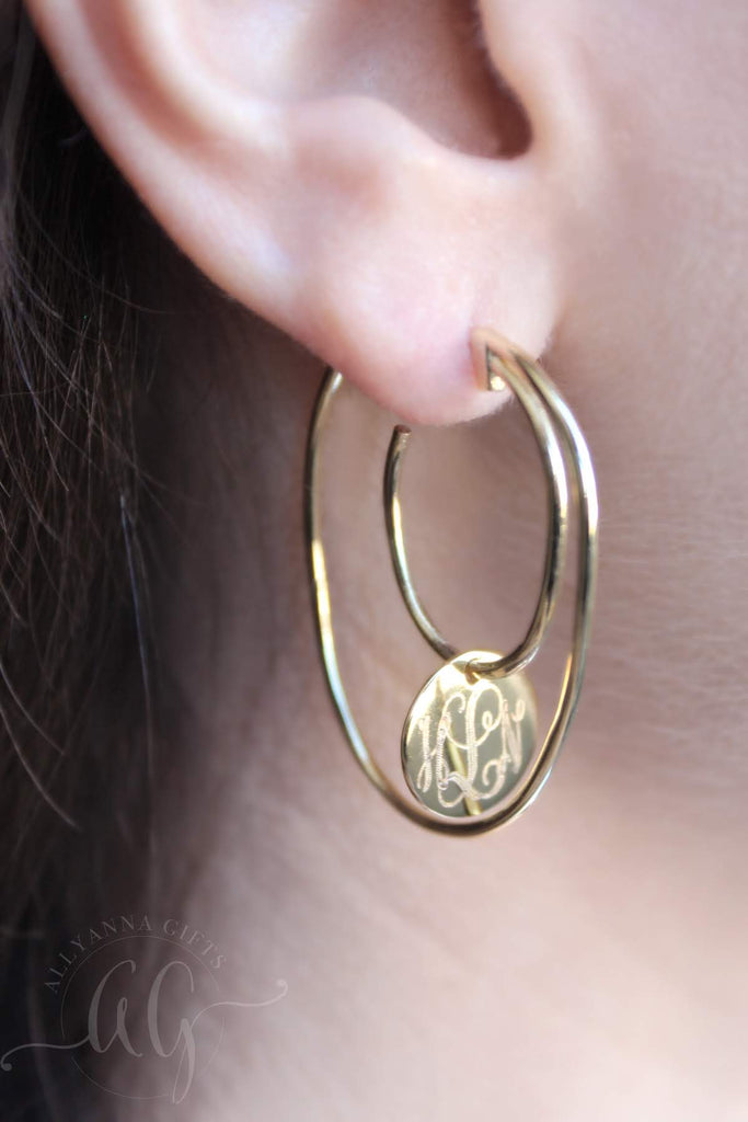 Engraved Disc Double Hoop Earrings - Allyanna Gifts