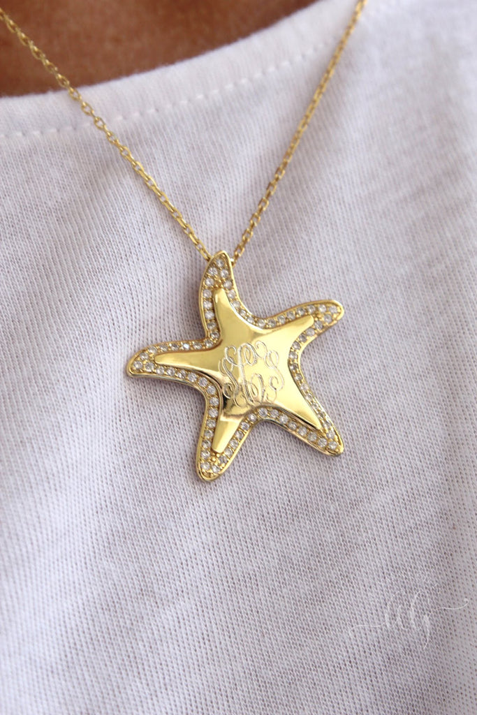 Sterling Silver CZ Starfish Necklace - Allyanna Gifts