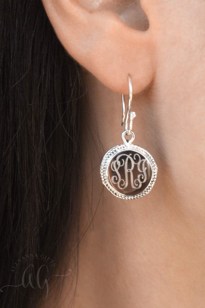 Circle Rope Monogram Earrings