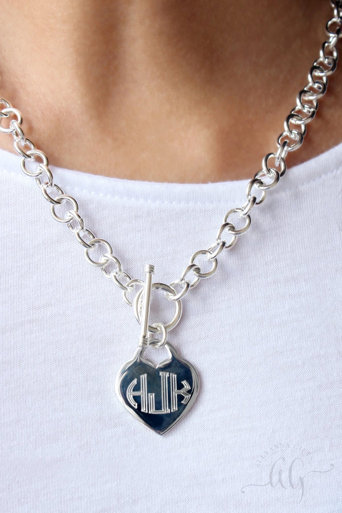Engravable Heart Disc German Silver Necklace - Allyanna Gifts