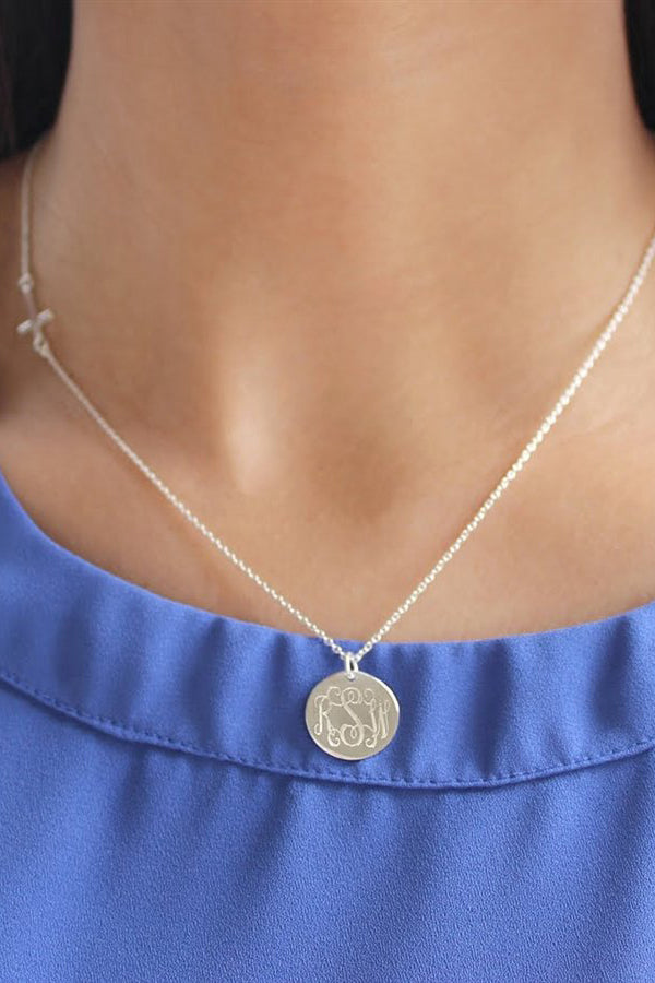 Sterling Silver Small Cross Necklace with Engravable Disc - Allyanna Gifts